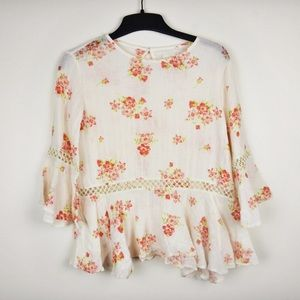 Ralph Lauren | floral bell sleeved top. size: XS